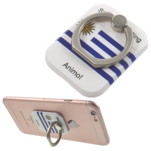 PICKOGEN Drop-resisting Ring Stand Holder Finger Grip for iPhone 6s Plus/Samsung Galaxy S7 edge - Flag of Uruguay