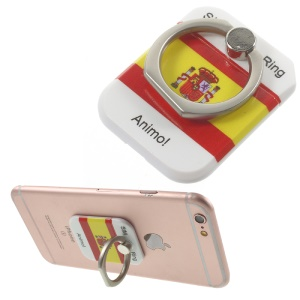 PICKOGEN Drop-resisting Ring Stand Holder Finger Grip for iPhone 6s Plus/Samsung Galaxy S7 edge - Spanish Flag