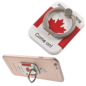 PICKOGEN Drop-resisting Ring Stand Holder Finger Grip for iPhone 6s Plus/Samsung Galaxy S7 edge - Canadian Flag