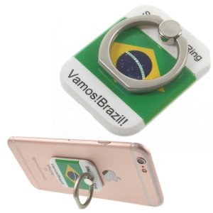 PICKOGEN Drop-resisting Ring Stand Holder Finger Grip for iPhone 6s Plus/Samsung Galaxy S7 edge - Brazilian Flag