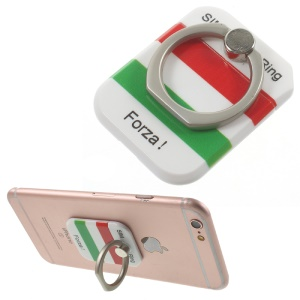 PICKOGEN Drop-resisting Ring Stand Holder Finger Grip for iPhone 6s Plus/Samsung Galaxy S7 edge - Italian Flag