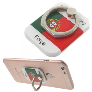 PICKOGEN Drop-resisting Ring Stand Holder Finger Grip for iPhone 6s Plus/Samsung Galaxy S7 edge - Flag of Portugal