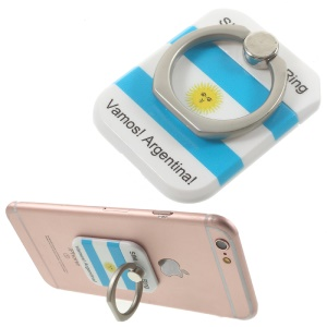 PICKOGEN Drop-resisting Ring Stand Holder Finger Grip for iPhone 6s Plus/Samsung Galaxy S7 edge - Flag of Argentina