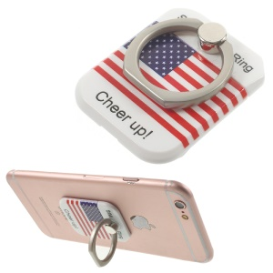 PICKOGEN Drop-resisting Ring Stand Holder Finger Grip for iPhone 6s Plus/Samsung Galaxy S7 edge - American Flag