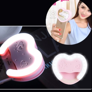 SMART TIGER Universal Clip-On 38 LED Dimmable Selfie Fill Light Portable Pocket Spotlight with Makeup Mirror - Pink