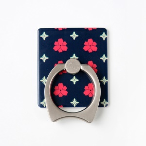 MAOXIN Cat Ear Ring Holder Finger Grip for Smartphone Tablets - Red  and White Flower