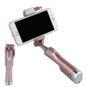 BENKS Built-in Bluetooth Remote Shutter Selfie Stick Monopad with LED Fill Light and Rear Mirror - Rose Gold