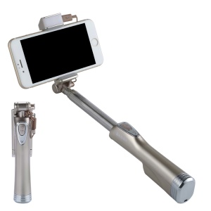 BENKS Built-in Bluetooth Remote Shutter Selfie Stick Monopad with LED Fill Light and Rear Mirror - Champagne Gold
