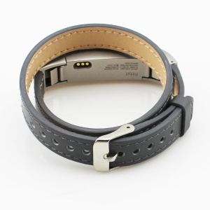 Genuine Leather Double Tour Watch Band for Fitbit Alta - Grey