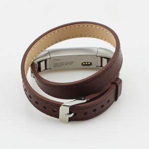 Genuine Leather Double Ring Watch Strap for Fitbit Alta - Coffee