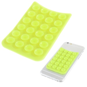 Anti-slip Silicone Sucker Cup Mat Holder for Mobile Phones - Green