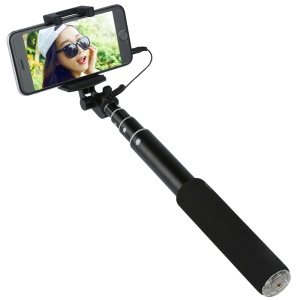BENKS Extendable Monopod Wired Selfie Stick with Mirror for iPhone 6s Plus - Black