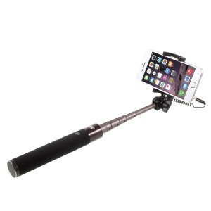 DISPHO 3.5mm Cable Control Extendable Monopod Selfie Stick for iPhone 6s Plus / 6 Plus / 6s - Black