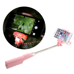 DISPHO 3.5mm Wire Control Extendable Monopod Selfie Stick Built-in Front/Rear Fill Lights - Pink