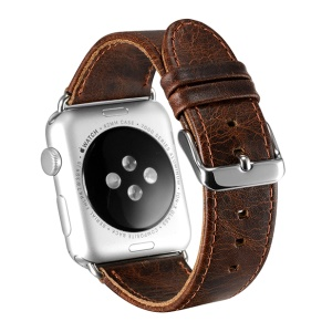 OATSBASF Top Layer Cowhide Leather Strap for Apple Watch Series 3 Series 1 Series 2 38mm - Dark Brown