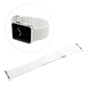Magnetic Loop PU Leather Watch Band for Apple Watch Series 1 Series 2 38mm - White