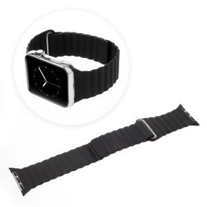 Magnetic Loop PU Leather Watch Band for Apple Watch Series 2 Series 1 42mm - Black