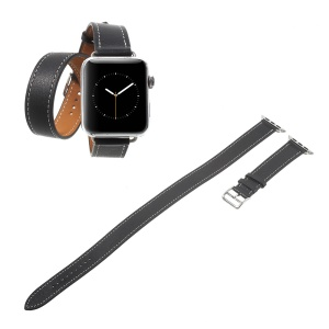 Bracelet en cuir véritable durable pour Apple Watch Series 3/2/1 38mm - Noir