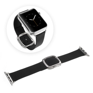 Modern Style Genuine Leather Watch Band for Apple Watch Series 1 Series 2 42mm - Black
