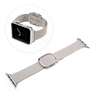 Modern Style Genuine Leather Strap Watch Band for Apple Watch Series 4 44mm / Series 3 / 2 / 1 42mm - Grey