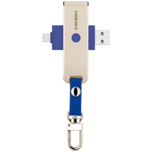 MOMAX Elite USB 3.0 MFI Certified Lightning 8pin Card Reader for iPhone iPad Computer - Gold Color