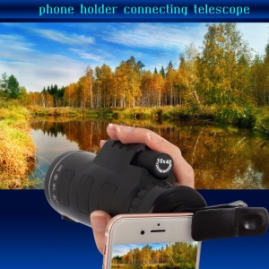 DongChaQiuHao Universal Clip-on 10x40 Hiking Concert Camera Lens Monocular for Smartphone - Black