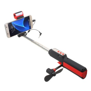 Wire Control LED Fill Light Extendable Handheld Monopod Selfie Stick with Fan Power Bank Lamp Multi-function