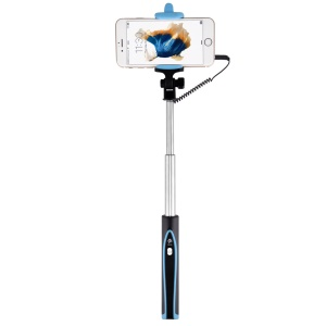DEVIA Focus Voyage Audio Cable Control Extendable Selfie Stick for iPhone 6s Plus/6s - Black / Blue