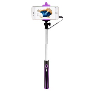 DEVIA Focus Voyage Wired Control Extendable Foldable Selfie Stick for iPhone 6s Plus/6s - Black / Purple