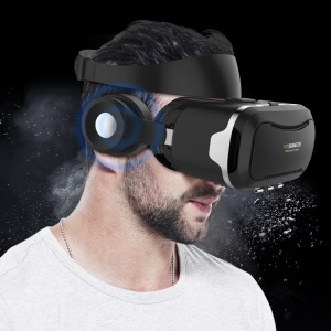 SHINECON 4 Generation 3D IMAX Panorama VR Virtual Reality Gläser Box mit Stereo Ohrhörer - Schwarz