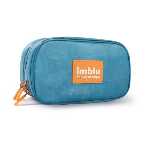 IMBLU DuPont Tyvek Paper Two Compartments Storage Bag for Camera / Phone / Earphone - Dark Blue