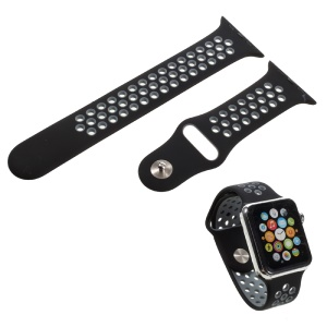 Silicone Watchband Replacement Wrist Strap for Apple Watch 38mm Series 1 Series 2 - Black