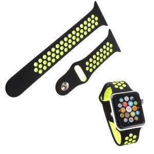 Soft Silicone Watchband Replacement Wrist Strap for Apple Watch 38mm Series 1 Series 2 - Black / Green