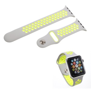 Silicone Breathable Watchband Replacement Wrist Strap for Apple Watch 38mm Series 1 Series 2 - Grey / Green