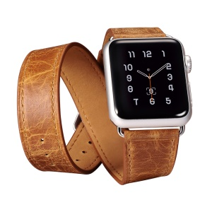 ICARER Classic Genuine Leather 4-pcs Watchstrap Set for Apple Watch 38mm Series 3 Series 1 Series 2 - Light Brown