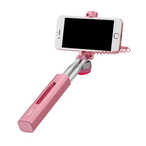 HOCO K1 Extendable 3.5mm Plug Wire Controllable Selfie Stick for iPhone Samsung Huawei - Rose Gold