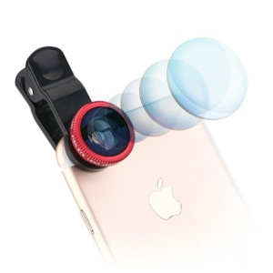 3-in-1 180° Fish Eye Lens + 0.67X Wide Angle Lens + Macro Lens Kit with Universal Clip - Red