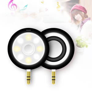 T3 3.5mm Plug LED Dimmable Selfie Fill Light Spotlight Beauty Speaker - Black