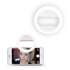 XJ-02 Universal Clip-on 30 LED Selfie Fill Light Portable Dimmable Pocket Spotlight - White