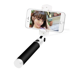 D9ELEMENT 3.5mm Audio Cable Rotary Extendable Selfie Stick with Mirror - Black