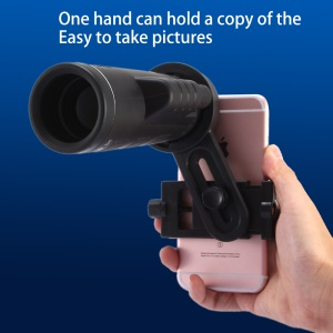 Universal 10X Optical Monocular High Definition Telephoto Grip Scope Phone Lens, Clamp Width 8 inch