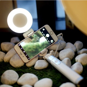 ROCK 3.5mm Wire Control Extendable Monopod Selfie Stick Built-in LED Fill Light and Mirror - White