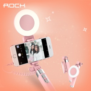 ROCK 3.5mm Audio Cable Handheld Selfie Stick Built-in LED Fill Light and Mirror - Pink