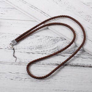 Woven Pattern Detachable Long Neck Strap Lanyard for Cellphone Camera - Brown