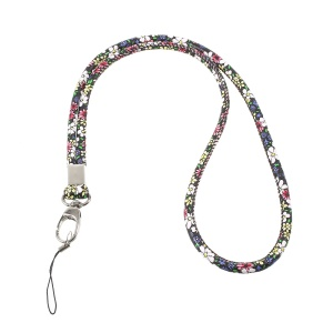 Print Leather Universal Long Lanyard Neck Strap for Cellphone Camera - Blue / Yellow