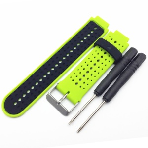 Universal Silicone Watch Strap for Garmin Forerunner 220/230/235/630/620/735 - Black / Green