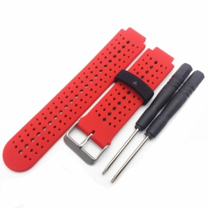 Universal Silicone Watch Strap for Garmin Forerunner 220/230/235/630/620/735 - Black / Red