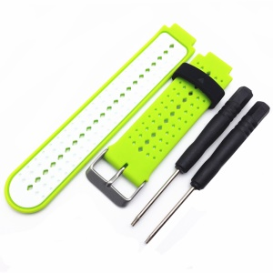 Universal Silicone Watch Strap for Garmin Forerunner 220/230/235/630/620/735 - White / Green
