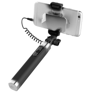 ROCK Mini Lightning Wired Foldable Extendable Selfie Stick with Mirror for iPhone Samsung Huawei etc - Black