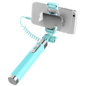 ROCK Mini Foldable Extendable Selfie Stick with 3.5mm Audio Cable Control for iPhone Samsung Huawei etc - Blue